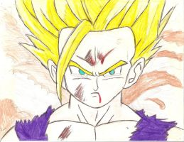 Gohan is Unleashed coloured by Lyndsey-Catastrphe