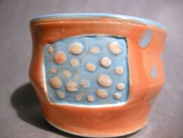 Peach and blue tea bowl by trickypink