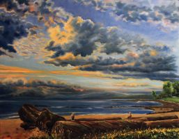 English bay with seagulls, 49 x 39 inches oil by Jan-Kasparec