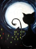 the cat and the moon by JustSweet19