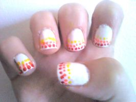 French Pokadot Nail Design by Experimently-Bernsie