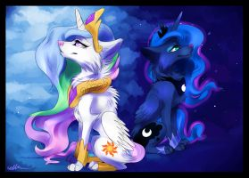 Princess Celestia and Princess Luna wolf version by Affanita