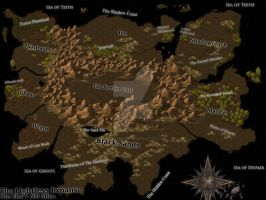 Continent Map - The Lightless Expanse by NickelEarredNick