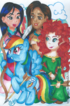 Rainbow Dash, Merida, Mulan and Pocahontas by MeganLovesAngryBirds