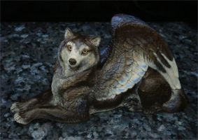 Dark Gold and Blue Winged Wolf by kitsunelady