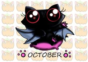 Funny cat kitten vampire bat calendar page by KingZoidLord