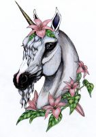 flowered unicorn in color by SpottedPegasus