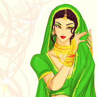 Courtesan in Green by Orchidias