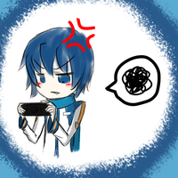 Kaito playin with his psp by aoito95