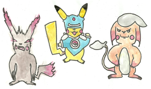 Pikachu variations by Gustafer
