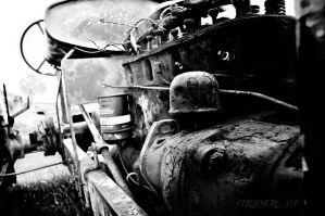 Tractor Of Memories - B+W by soldierofsolace