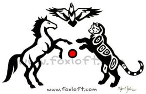 Mustang, Jaguar, Raven Tattoo by Foxfeather248