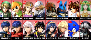 Top 16 Character roster for SSB4 by MasterGamer101