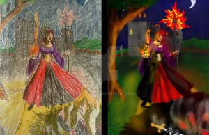 Should't Annoy a Sorceress-traditional vs digital by dhbraley