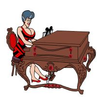 Lady Tremaine Playing The Piano In Red And Bla by terynn123