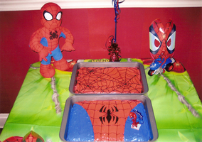 Spider-man cakes by FoxxFireArt