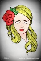Dead Blond Head With Red Rose Tattoo by CarlosAE