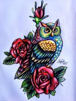 Owl Tattoo Design by MoterPants