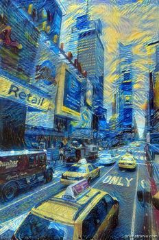 How would Van Gogh see Times Square by Animatron-io
