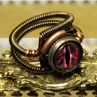 Steampunk evil red dragon ring by CatherinetteRings