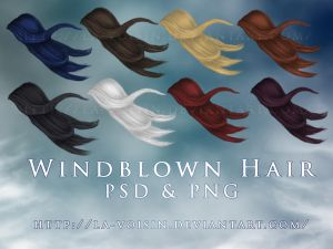 Windblown Hair PSD and PNG by la-voisin