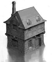 dwarven house, architecture by 2blind2draw