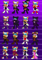 The many outfits of Rouge by NicoleDoodle64