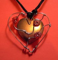Double Heart Pendant by SneddoniaDesigns
