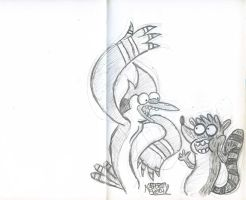 Mordecai and Rigby Quick Sketch by Jose-Miranda