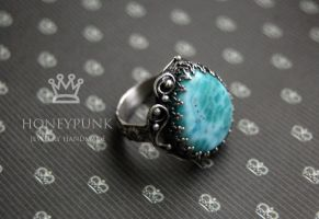 Ring silver sterling with larimar by honeypunk