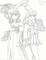 Kikyo and Kagome by thephantomcancu