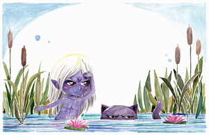 Drizzt and Guenwhyvar by MaryZho