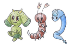 Art Trade- ObeyDaFist's Starters by bubblewrap-pancakes