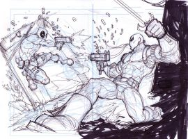 Deadpool Vs. Deathstroke WIP by KomicKarl