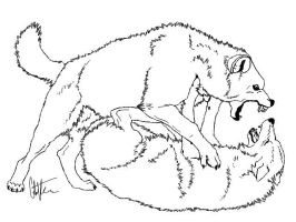 -:Wolf Fight Lineart:- by Colette-Anderson