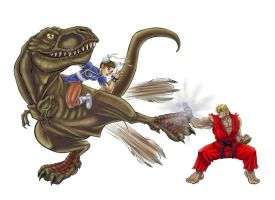 Chun on T-Rex n Ken parrying?? by madmagnus