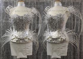 Crystal breastblate corset and neck collar by AtelierSylpheCorsets