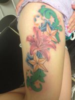 Lily and Stars Tattoo by patheticpeacepirate
