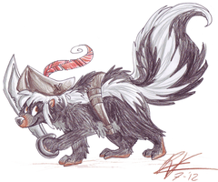 Captain Fluffclaw the skunk by Ribbedebie