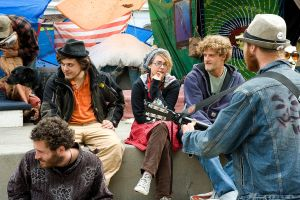 Occupy Wall Street participants take time out by William1942