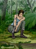 Lara in the Jungle, about to shoot by Kaorikiki
