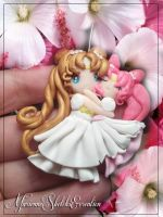 Princess serenity and small lady chibiusa by DarkettinaMarienne