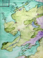 Fantasy Map in watercolors by Izile
