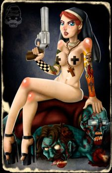 Nude Nuns with big guns Vs. Zombies hipsters by Frank-Cadillac