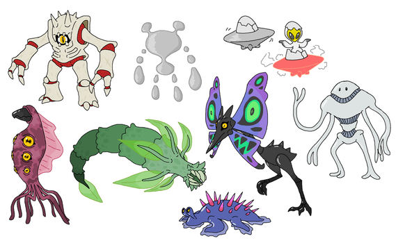 Creature doodles: ayyliens 2 by JWNutz