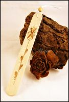 Sold - Bookmark - Wood - Pyrography-Flower (A) by SuniMam