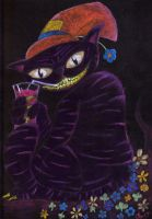 Gleeing Cat With His Drink by zabani