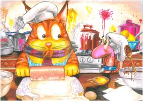 The Cat With The Scarf(c) Cooks Dinner by Hognatius