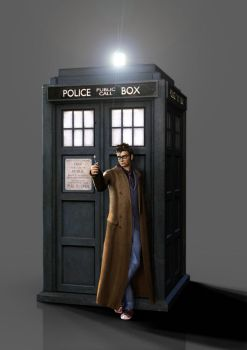 3D Tenth Doctor with TARDIS by silentrepose