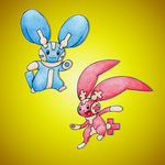Mega Plusle and Mega Minun by FakeMakeT